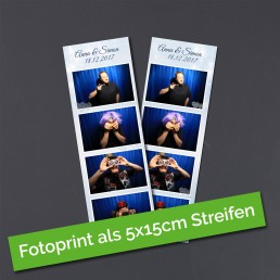 5x15cm Fotostreifen, wie sie aus der Fotobox Düren kommen.